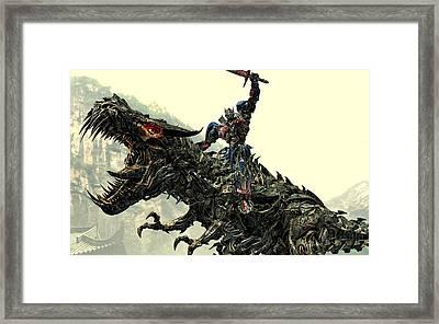 Optimus Prime Riding Grimlock Framed Print by Movie Poster Prints