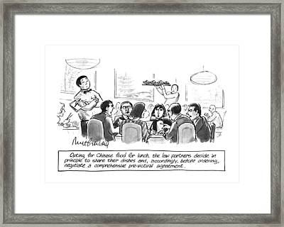 Opting For Chinese Food For Lunch Framed Print by Mort Gerberg