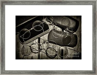 Optometrist - Vintage Eyeware Black And White Framed Print