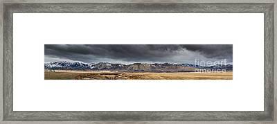 Oquirrh Mountains Winter Storm Panorama - Utah Framed Print by Gary Whitton