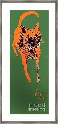 Orange And Black Cat On Green Grass Framed Print