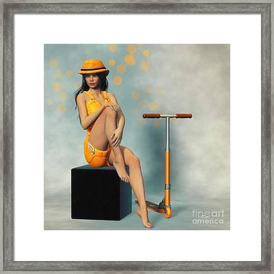 Orange And Black Framed Print