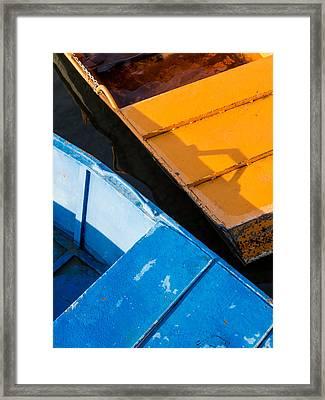 Orange And Blue Framed Print by Davorin Mance