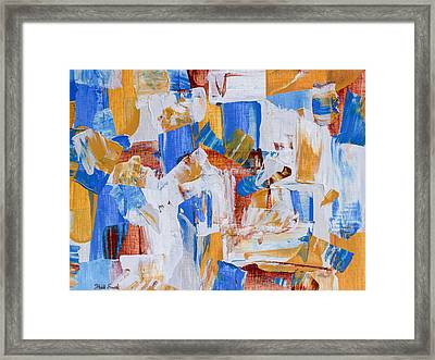 Framed Print featuring the painting Orange And Blue by Heidi Smith
