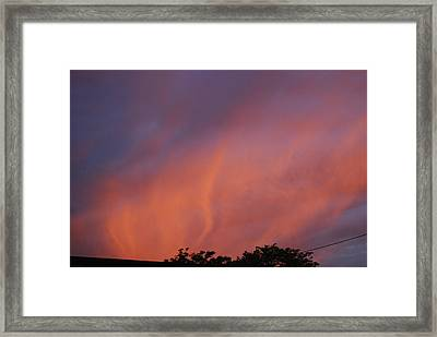 Framed Print featuring the photograph Orange And Blue Sunset by Ramona Whiteaker