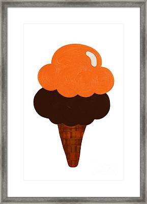 Orange And Chocolate Ice Cream Framed Print by Andee Design