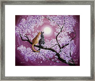 Orange And Gray Tabby Cats In Cherry Blossoms Framed Print by Laura Iverson