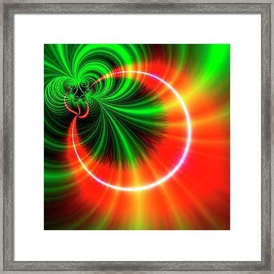 Orange And Green Patterns Framed Print by Mehau Kulyk