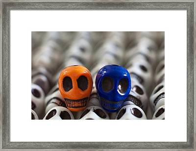 Orange And Navy Blue Framed Print by Mike Herdering