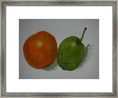 Orange And Pear Framed Print by Kat Poon