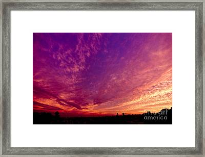 Orange And Purple Clouds Sunset View From The Balcony Framed Print