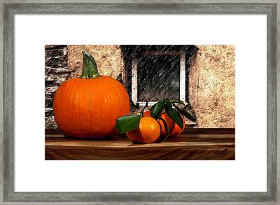 Orange And Rain Framed Print by Cecil Fuselier
