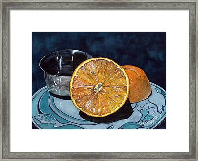 Orange And Silver Framed Print by Barbara Jewell