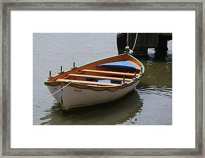Orange And White  Boat  Framed Print by Phoenix De Vries
