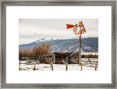 Orange And Yellow Windmill Framed Print