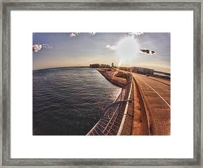 Framed Print featuring the digital art Orange Beach From Perdido Bridge by Michael Thomas