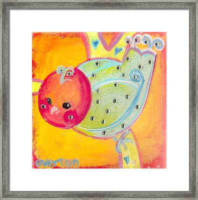 Orange Birdy Framed Print