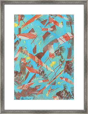 Orange Blue And Brown Framed Print by Ellen Howell