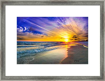 Orange Blue Saturated Sunset-pensacola Beach-bright Sun Framed Print