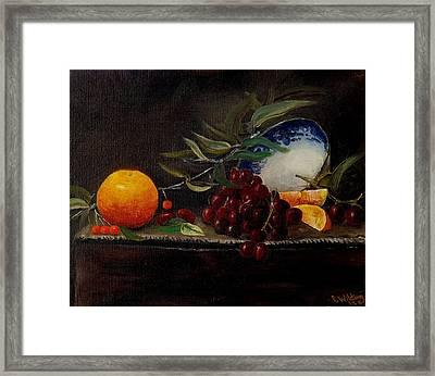 Orange Bowl Grapes Branch Framed Print