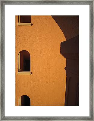 Framed Print featuring the photograph Orange Building With Archway by Mary Bedy