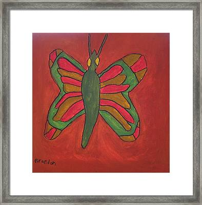 Framed Print featuring the painting Orange Butterfly by Artists With Autism Inc