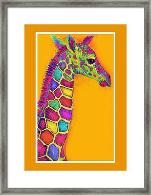 Orange Carosel Giraffe Framed Print by Jane Schnetlage