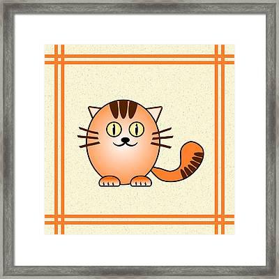 Orange Cat - Animals - Art For Kids Framed Print