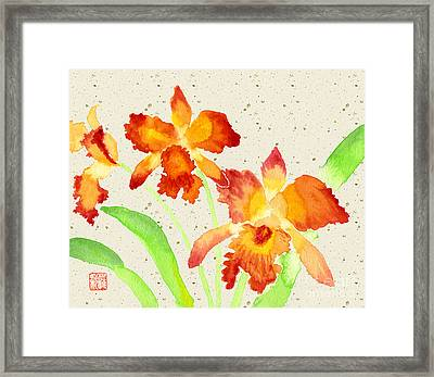 Orange Cattleya Orchids Watercolor Painting Framed Print