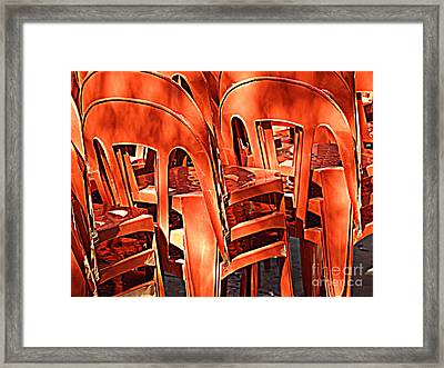 Orange Chairs Framed Print