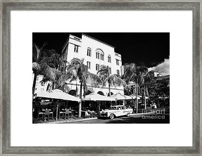 Orange Chevrolet Bel Air In The Cuban Style Outside The Edison Hotel Framed Print by Joe Fox