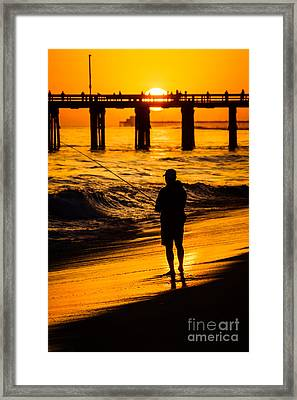 Orange County California  Sunset Fishing Picture Framed Print by Paul Velgos
