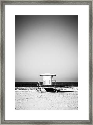 Orange County Lifeguard Tower Black And White Picture Framed Print by Paul Velgos