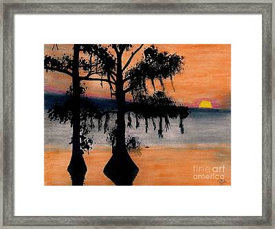 Framed Print featuring the drawing Orange Cypress Sunset by D Hackett