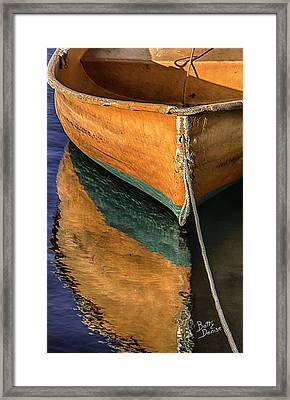 Framed Print featuring the photograph Orange Dinghy In Warm Sun by Betty Denise