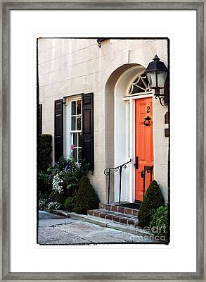 Orange Door In Charleston Framed Print by John Rizzuto