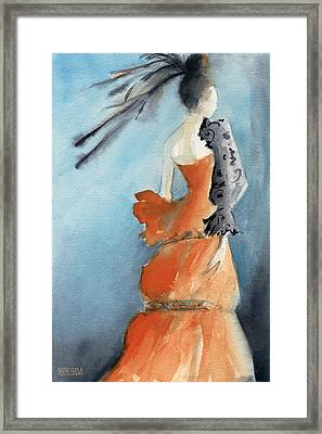 Orange Evening Gown With Black Fashion Illustration Art Print Framed Print