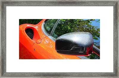 Framed Print featuring the photograph Orange Ferrari  by Jeff Lowe