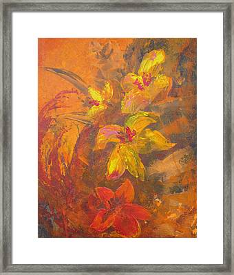 Orange Floral  Framed Print