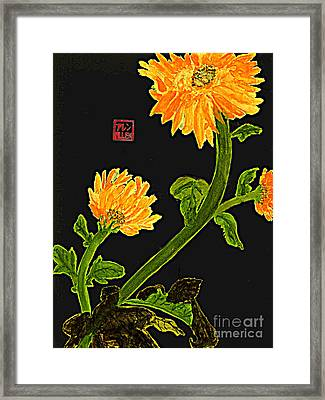Orange Flowers  Chinese Watercolor Art Framed Print