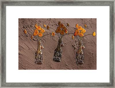 Orange Flowers Embedded In Adobe Framed Print