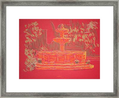 Orange Fountain Framed Print by Marcia Meade
