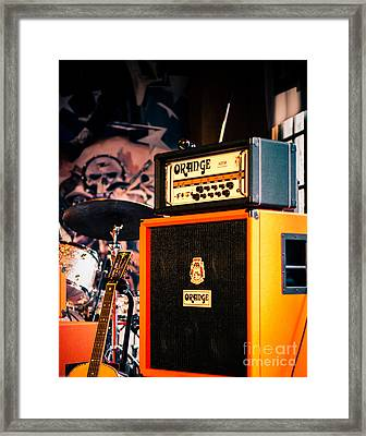 Orange Guitar Amps Framed Print by Sonja Quintero