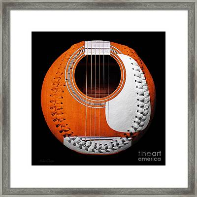 Orange Guitar Baseball White Laces Square Framed Print by Andee Design