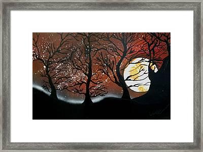 Orange Harvest Moon Framed Print by Chris DeVries