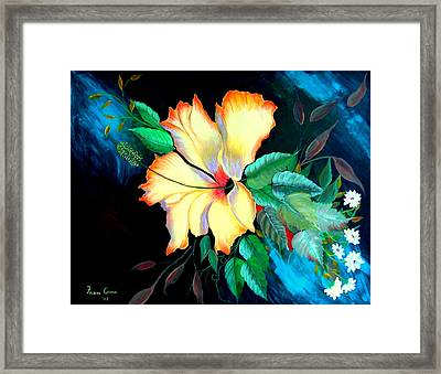 Framed Print featuring the painting Orange Hibiscus by Fram Cama