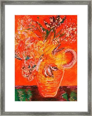 Orange Impressionistic Vase Of Flowers Framed Print by Anne-Elizabeth Whiteway