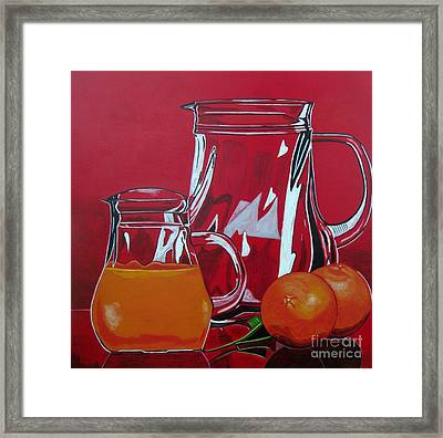Orange Juggle Framed Print by Sandra Marie Adams