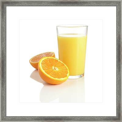 Orange Juice And Fresh Orange Framed Print by Science Photo Library