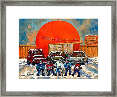 Hot Hockey Game Cool Julep At Montreal's Roadside Attraction The Orange Julep By Carole Spandau Framed Print
